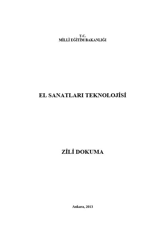 Zili Dokuma ders notu pdf