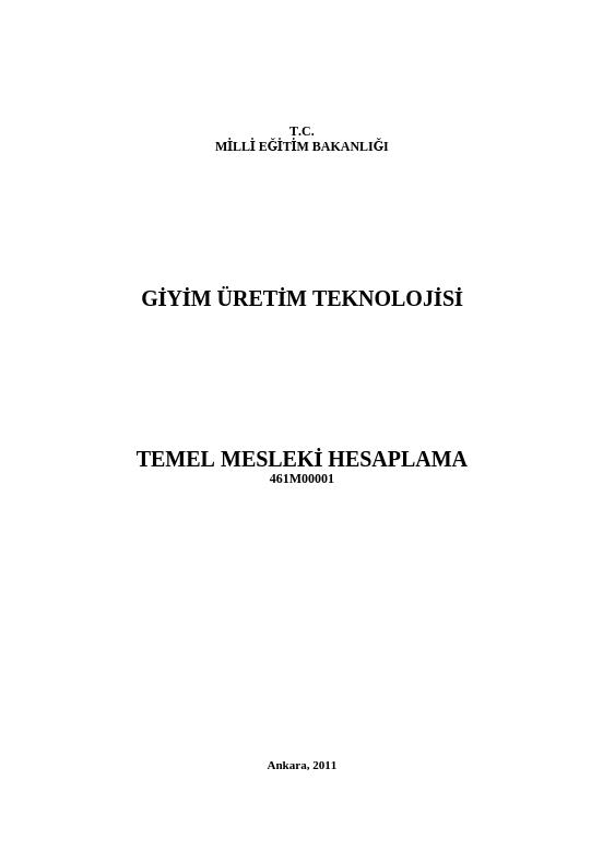 Temel Mesleki Hesaplama ders notu pdf