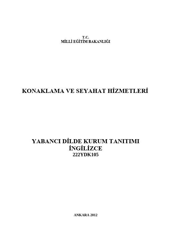 Yabancı Dilde Kurum Tanıtımı ders notu pdf