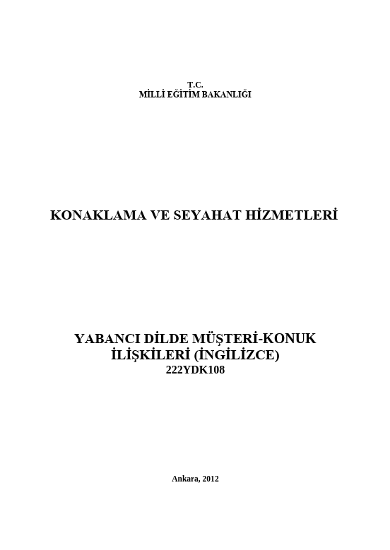Yabancı Dilde Müşteri-konuk Ilişkileri ders notu pdf