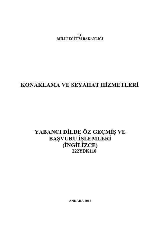 Yabancı Dilde Özgeçmiş Ve Başvuru Işlemleri ders notu pdf