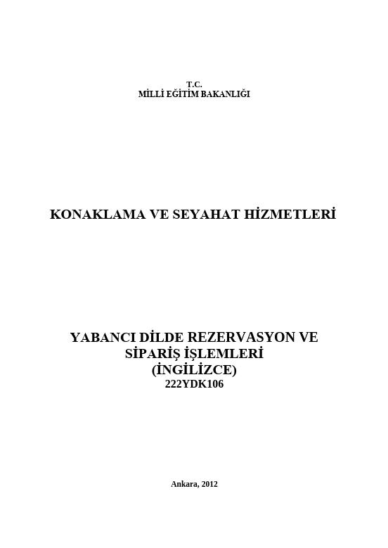 Yabancı Dilde Rezervasyon Ve Sipariş Işlemleri ders notu pdf