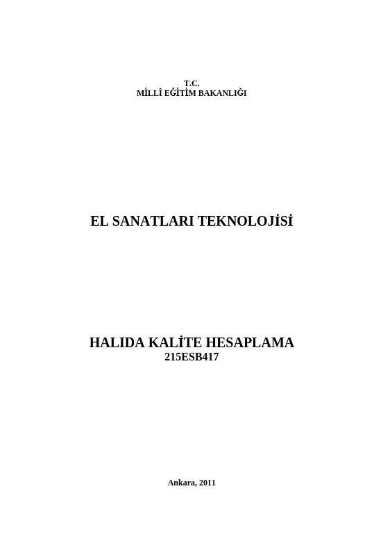 Halıda Kalite Hesaplama ders notu pdf