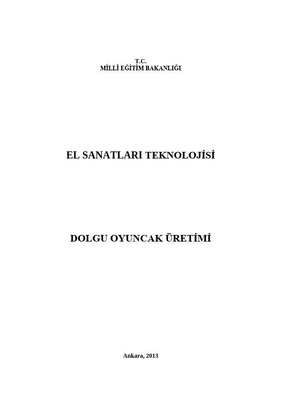 Dolgu Oyuncak Üretimi ders notu pdf