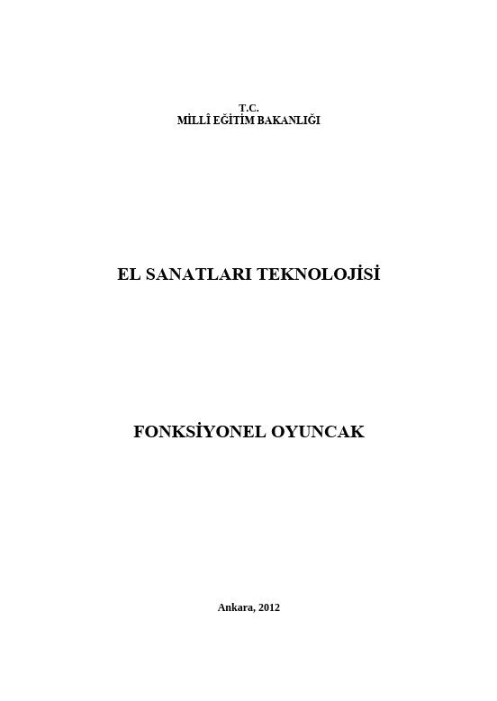 Foksiyonel Oyuncak ders notu pdf