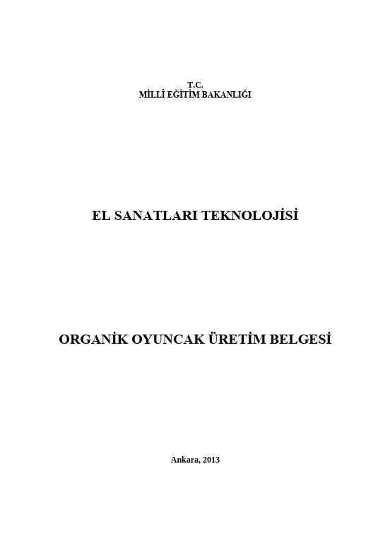 Organik Oyuncak Üretim Belgesi ders notu pdf