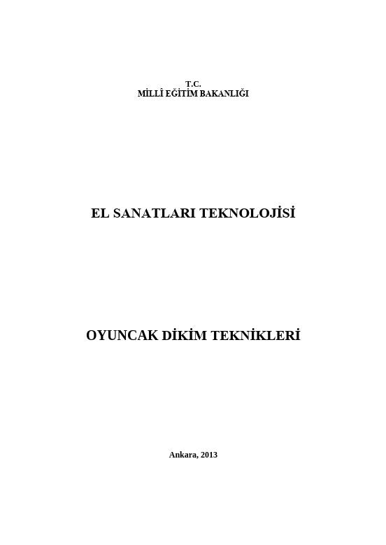 Oyuncak Dikim Teknikleri ders notu pdf
