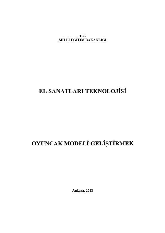 Oyuncak Modeli Geliştirmek ders notu pdf