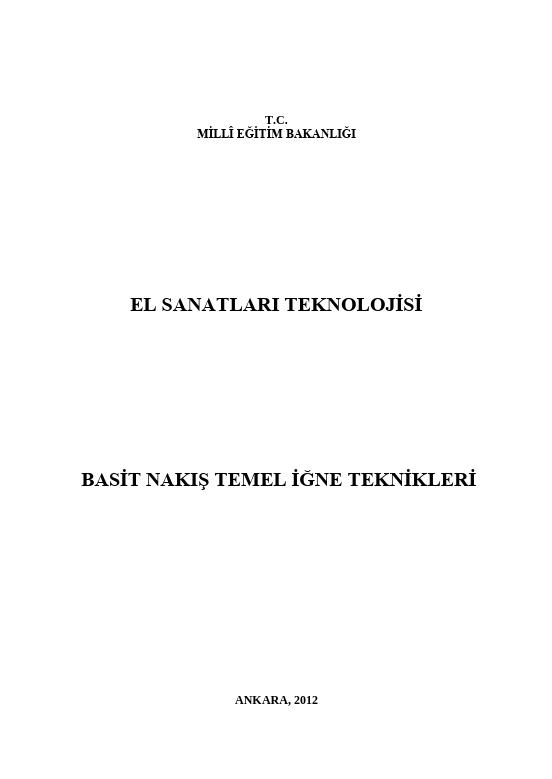 Basit Nakış Temel İğne Teknikleri ders notu pdf