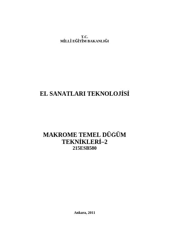 Makrome Temel Düğüm Teknikleri-2 ders notu pdf