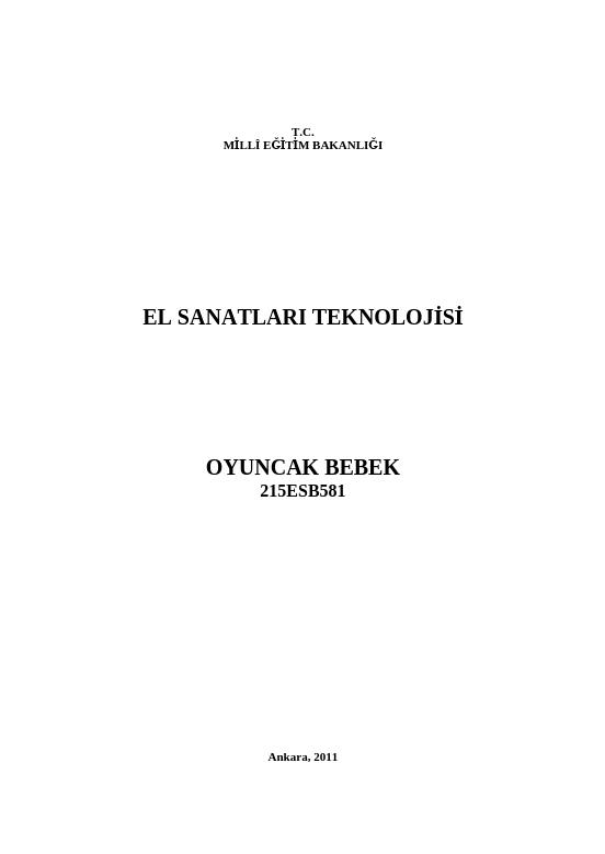 Oyuncak Bebek ders notu pdf