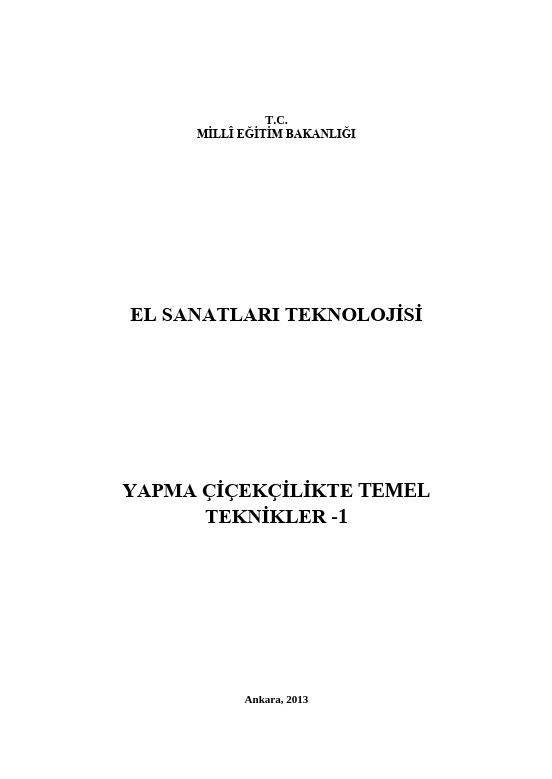 Yapma Çiçekçilikte Temel Teknikler-1 ders notu pdf