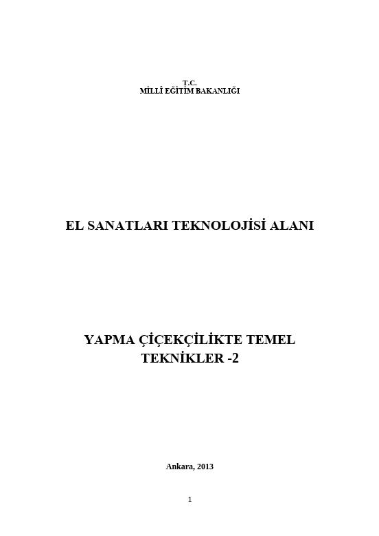 Yapma Çiçekçilikte Temel Teknikler-2 ders notu pdf