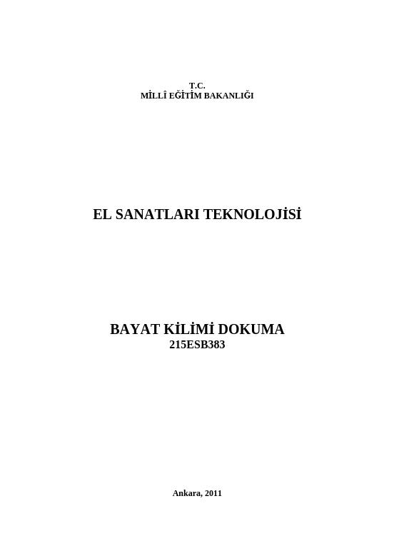 Bayat Kilimi Dokuma ders notu pdf