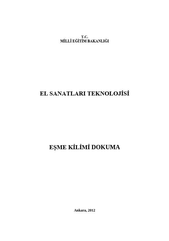 Eşme Kilimi Dokuma ders notu pdf