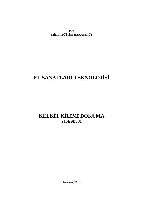 Kelkit Kilimi Dokuma ders notu pdf