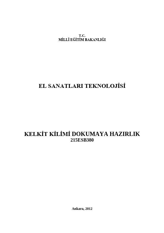 Kelkit Kilimi Dokumaya Hazırlık ders notu pdf