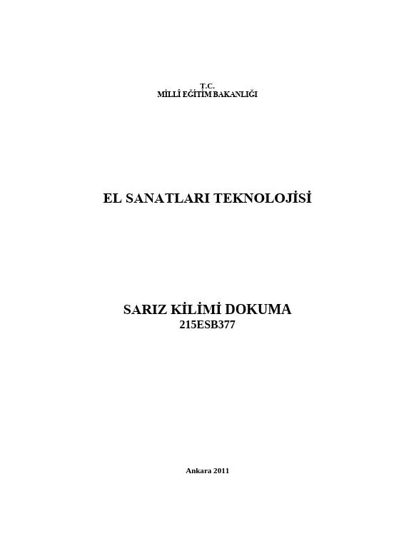 Sarız Kilimi Dokuma ders notu pdf