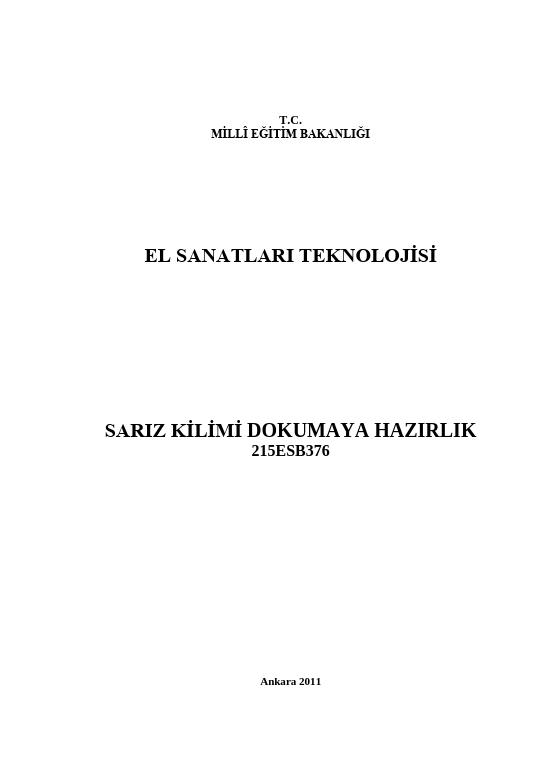 Sarız Kilimi Dokumaya Hazırlık ders notu pdf