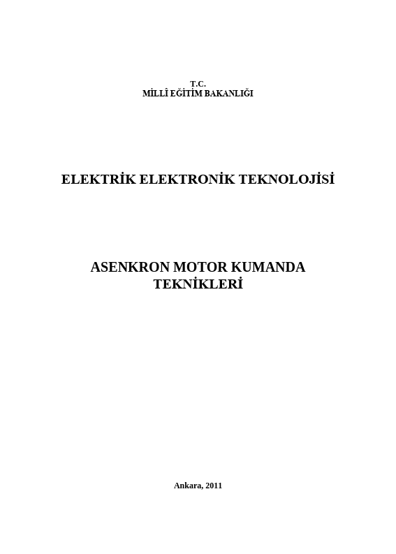 Asenkron Motor Kumanda Teknikleri ders notu pdf