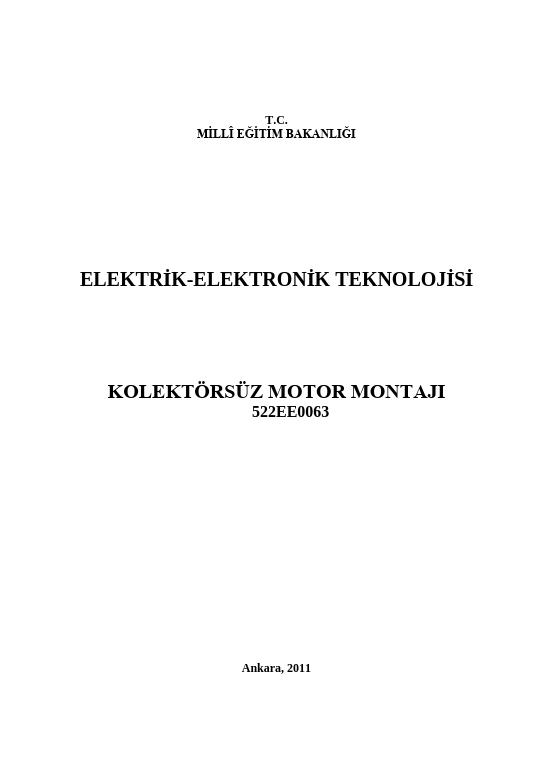 Kolektörsüz Motor Montajı