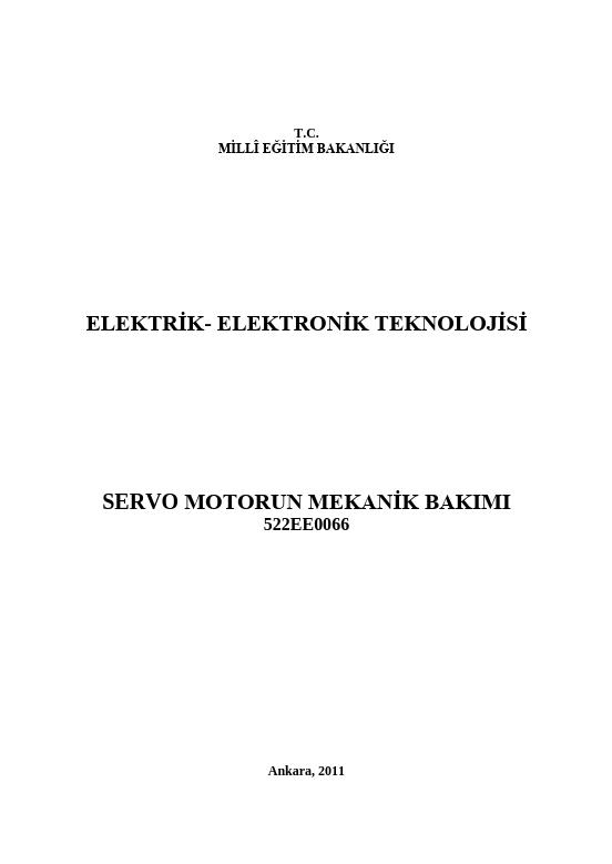 Servo Motorun Mekanik Bakımı