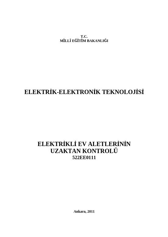 Elektrikli Ev Aletlerinin Uzaktan Kontrolü