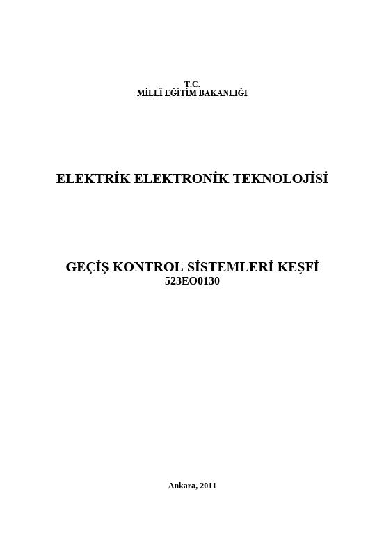Geçiş Kontrol Sistemleri Keşfi ders notu pdf