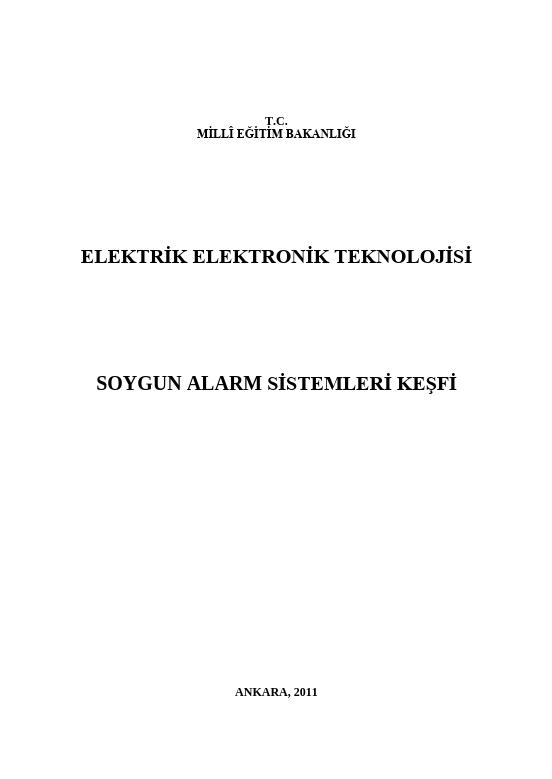 Soygun Alarm Sistemleri Keşfi ders notu pdf