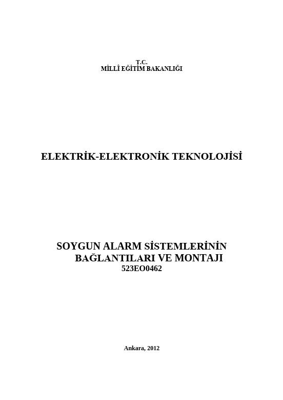 Soygun Alarm Sistemlerinin Bağlantıları Ve Montajı ders notu pdf