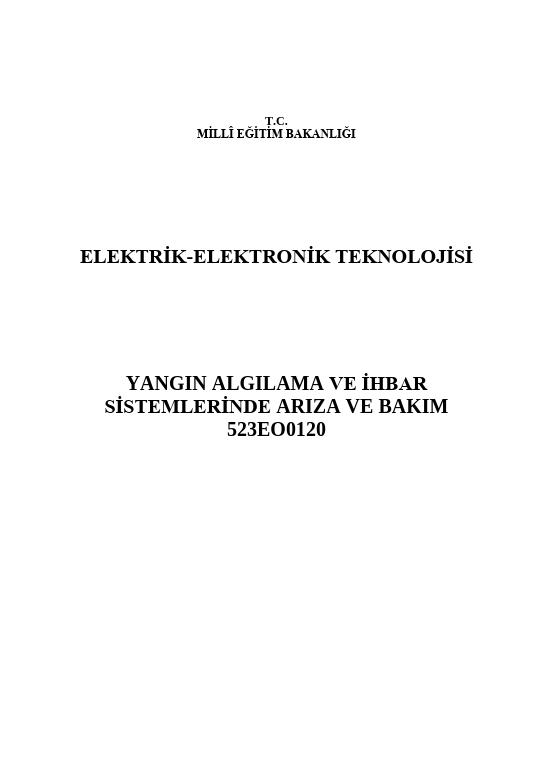 Yangın Algılama ve İhbar Sistemlerinde Arıza Ve Bakım ders notu pdf