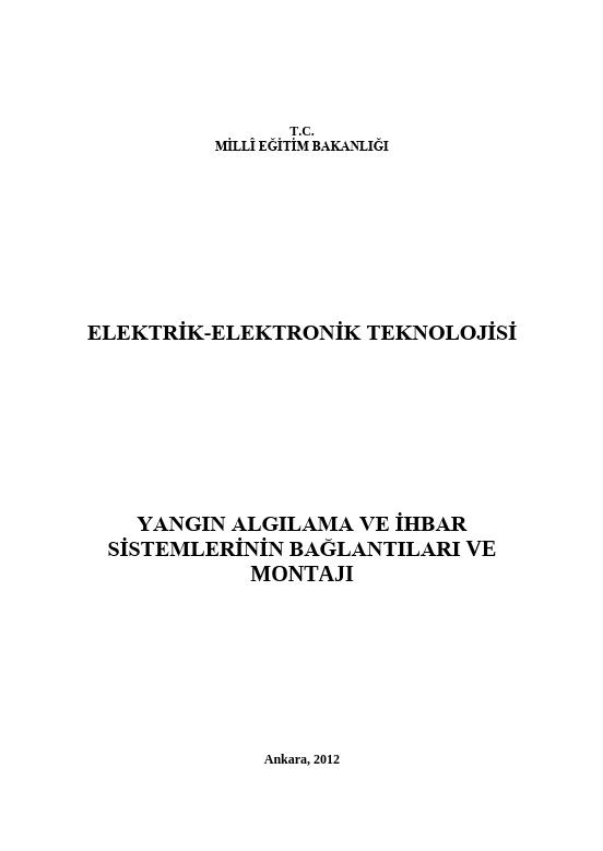Yangın Algılama ve İhbar Sistemlerinin Bağlantıları Ve Montajı ders notu pdf