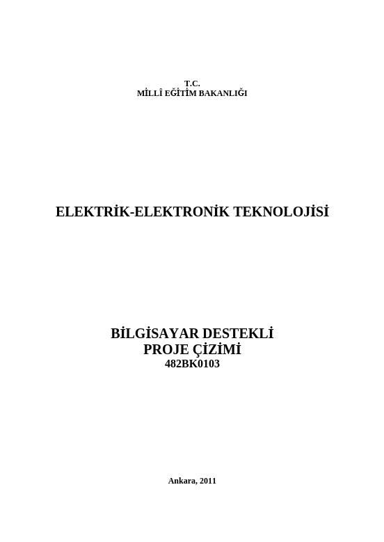 Bilgisayar Destekli Proje Çizimi ders notu pdf