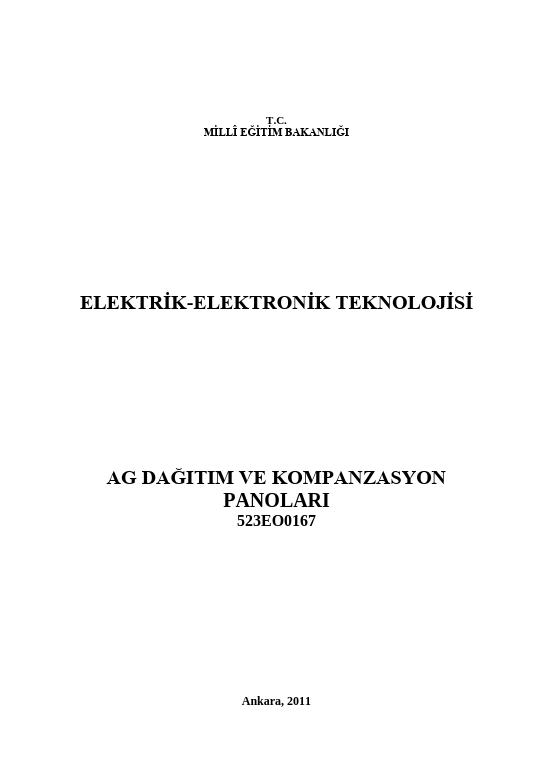 Ag Dağıtım Ve Kompanzasyon Panoları ders notu pdf