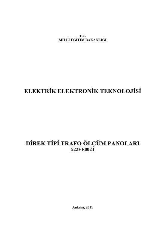 Direk Tipi Trafo Ölçüm Panoları ders notu pdf