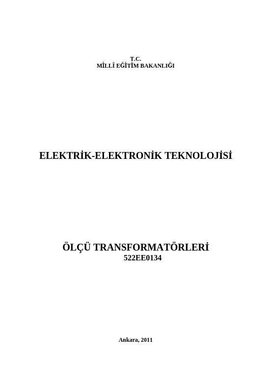 Ölçü Transformatörleri ders notu pdf