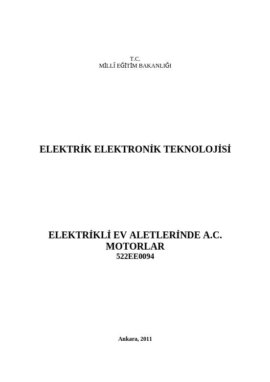 Elektrikli Ev Aletlerinde Ac Motorlar ders notu pdf