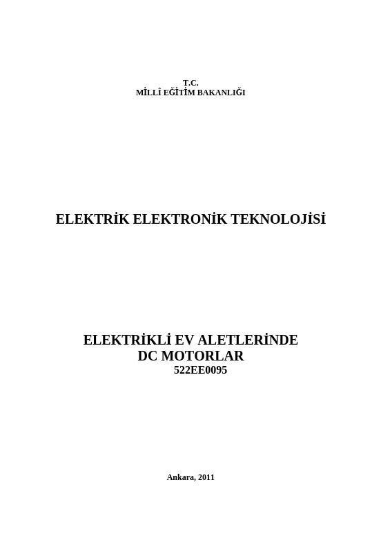 Elektrikli Ev Aletlerinde Dc Motorlar ders notu pdf