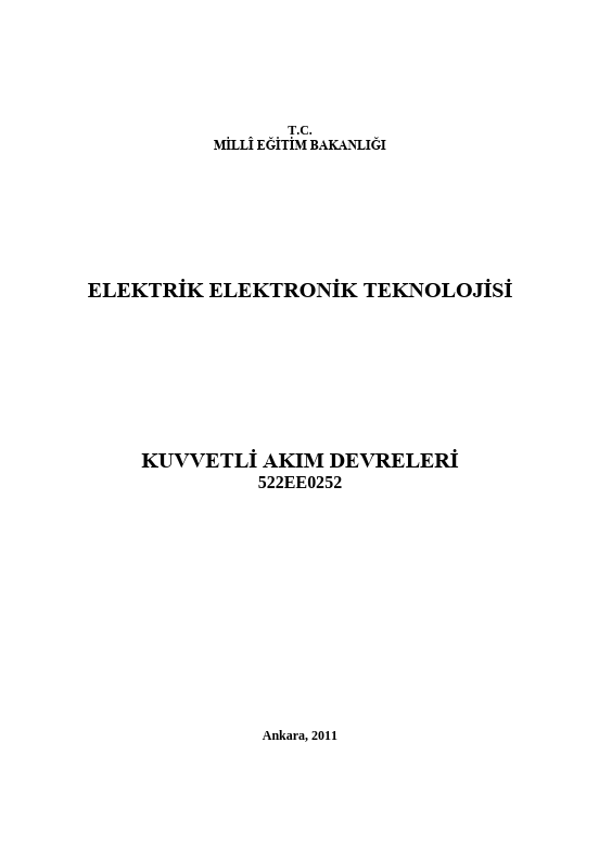 Kuvvetli Akım Devreleri ders notu pdf
