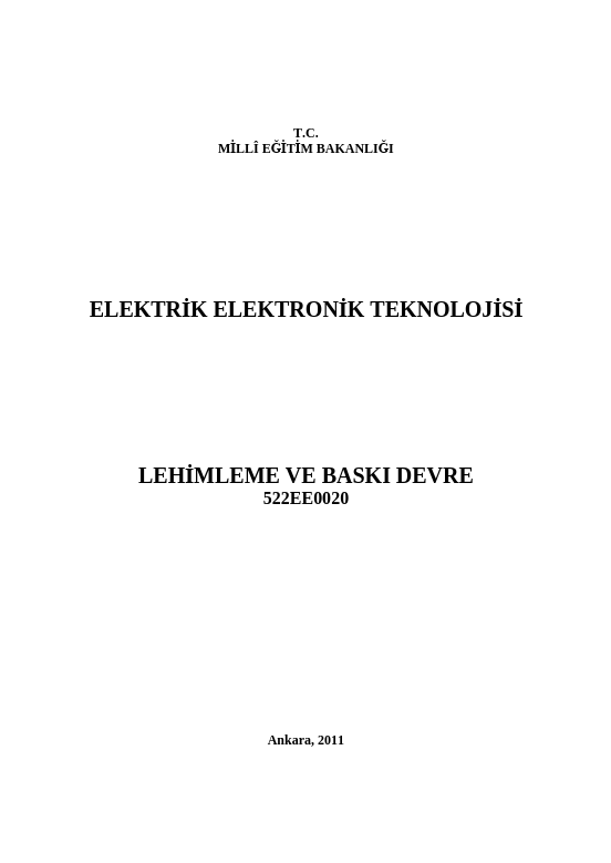 Lehimleme Ve Baskı Devre ders notu pdf