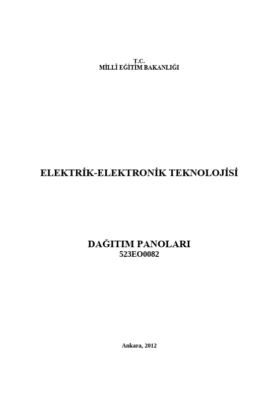 Dağıtım Panoları ders notu pdf
