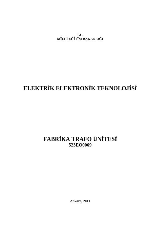 Fabrika Trafo Ünitesi ders notu pdf