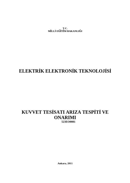 Kuvvet Tesisatı Arıza Tespiti Ve Onarımı ders notu pdf