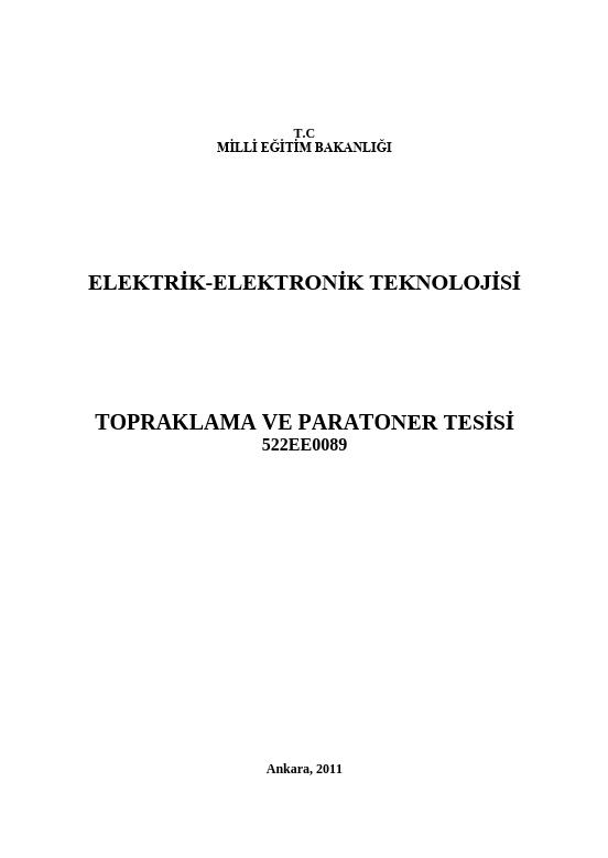 Topraklama Ve Paratoner Tesisi ders notu pdf