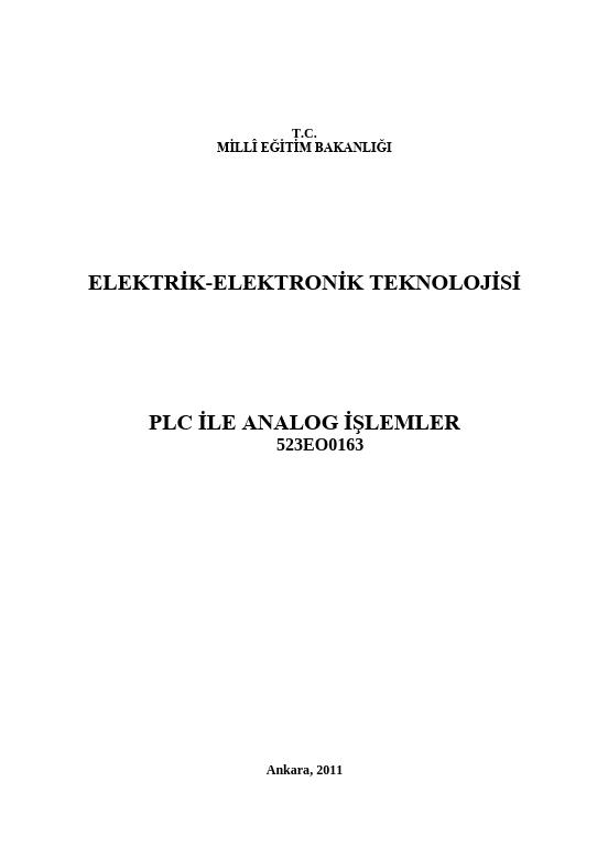 Plc Ile Analog İşlemler ders notu pdf