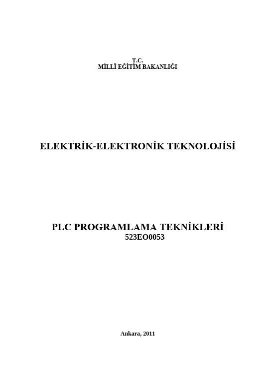 Plc Programlama Teknikleri ders notu pdf