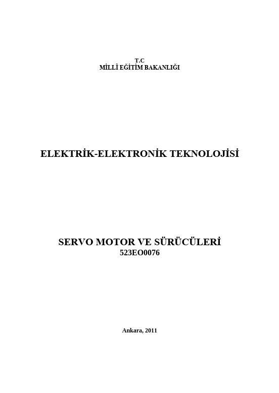 Servo Motor Ve Sürücüleri ders notu pdf