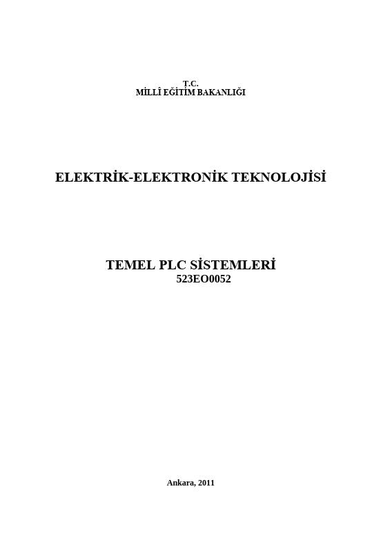 Temel Plc Sistemleri ders notu pdf