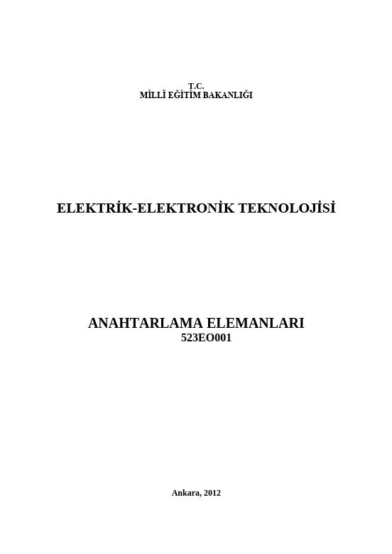 Anahtarlama Elemanları ders notu pdf