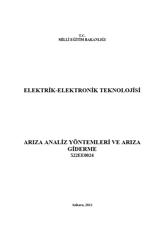 Arıza Analiz Yöntemleri Ve Arıza Giderme ders notu pdf